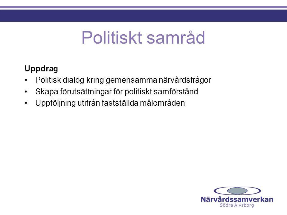 Politiskt samråd Uppdrag Politisk dialog kring gemensamma närvårdsfrågor Skapa förutsättningar för politiskt samförstånd Uppföljning utifrån fastställda målområden