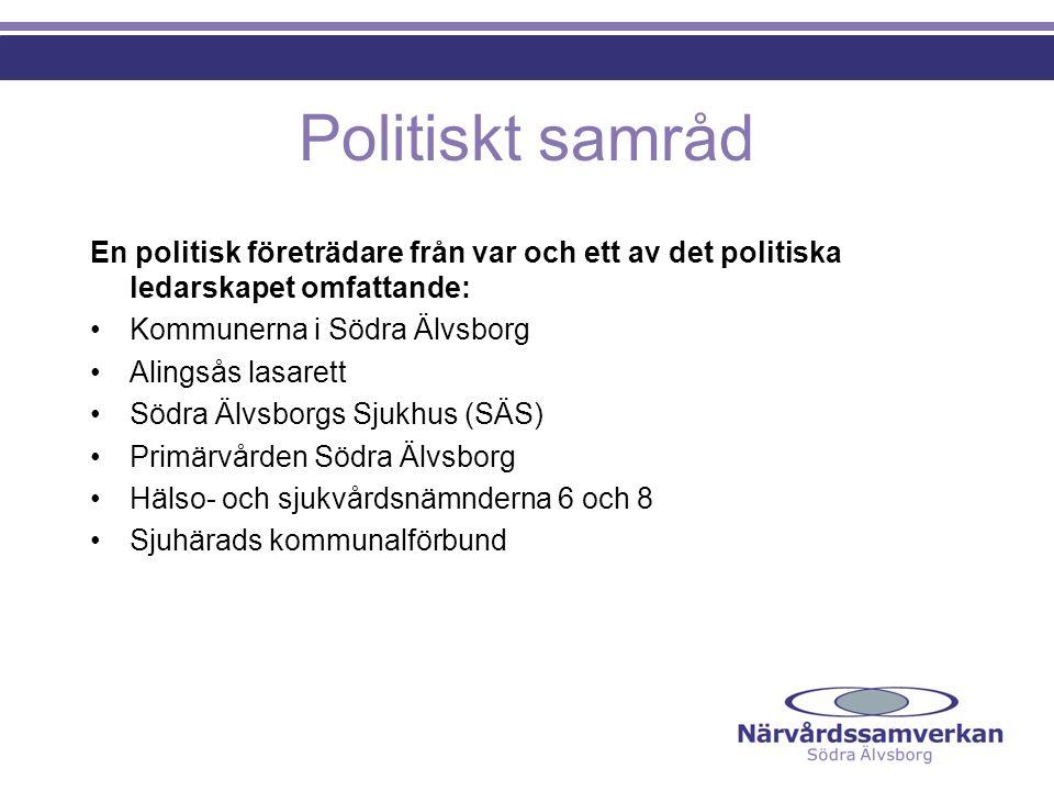 Politiskt samråd En politisk företrädare från var och ett av det politiska ledarskapet omfattande: Kommunerna i Södra Älvsborg Alingsås lasarett Södra