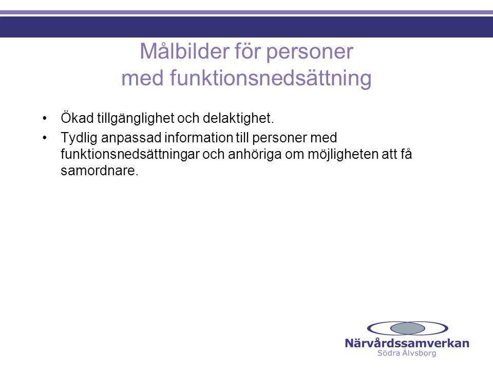 Målbilder för personer med funktionsnedsättning Ökad tillgänglighet och delaktighet.