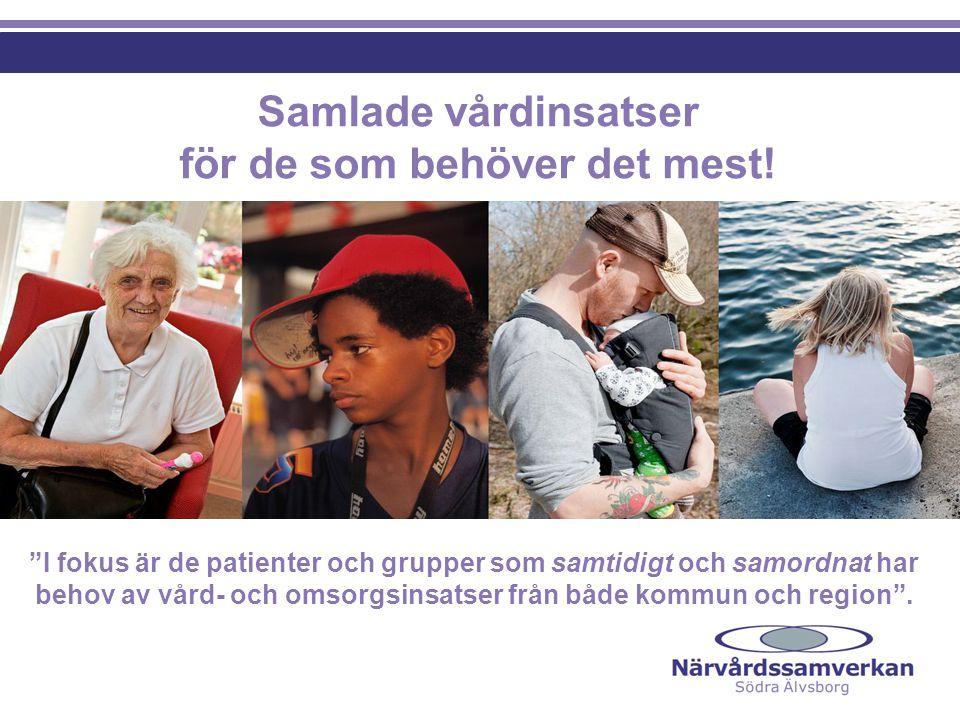 Målområden - Nyttan för invånarna Närvårdssamverkan ska också genom förebyggande arbete motverka framtida vård- och omsorgsbehov för invånarna i Södra Älvsborg Patient och invånarfokus – inga trösklar mellan vårdgivarna Närhet – vård/omsorg i egen bostad och/eller närliggande vårdenhet Trygghet – att veta vart man ska vända sig, dvs.