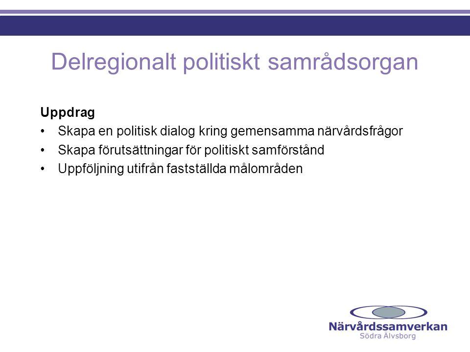 Delregionalt politiskt samrådsorgan Uppdrag Skapa en politisk dialog kring gemensamma närvårdsfrågor Skapa förutsättningar för politiskt samförstånd Uppföljning utifrån fastställda målområden