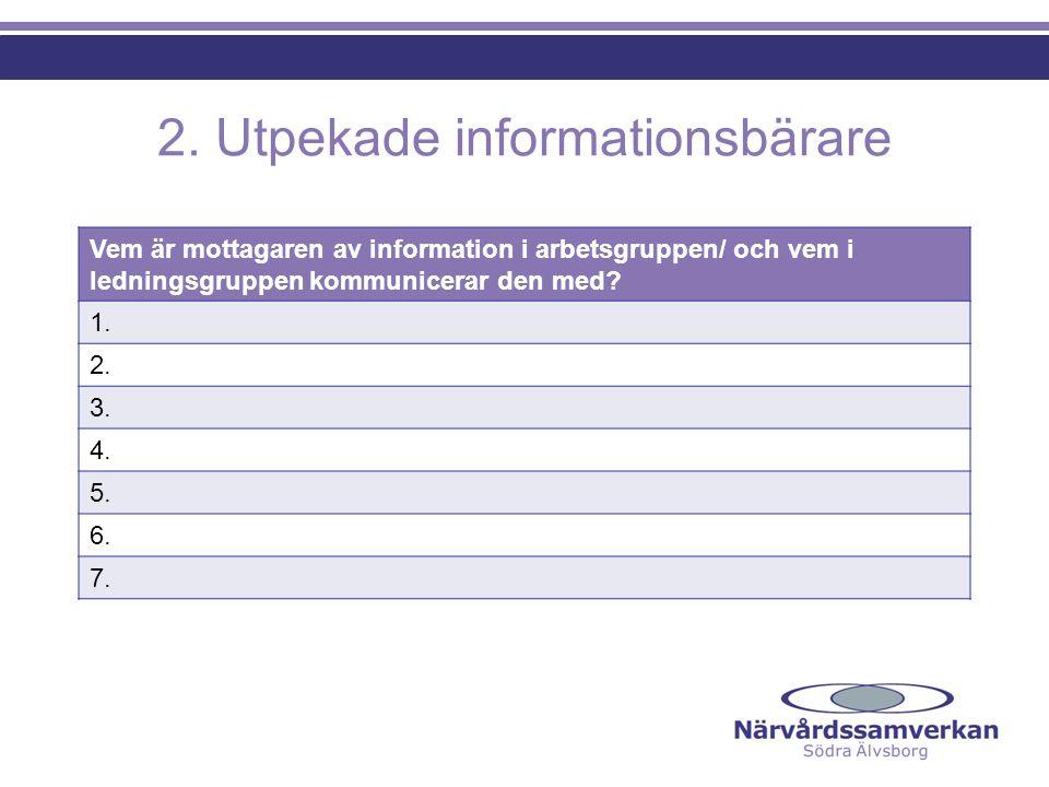 2. Utpekade informationsbärare Vem är mottagaren av information i arbetsgruppen/ och vem i ledningsgruppen kommunicerar den med? 1. 2. 3. 4. 5. 6. 7.