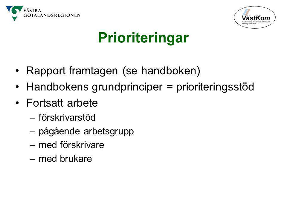 Prioriteringar Rapport framtagen (se handboken) Handbokens grundprinciper = prioriteringsstöd Fortsatt arbete –förskrivarstöd –pågående arbetsgrupp –med förskrivare –med brukare
