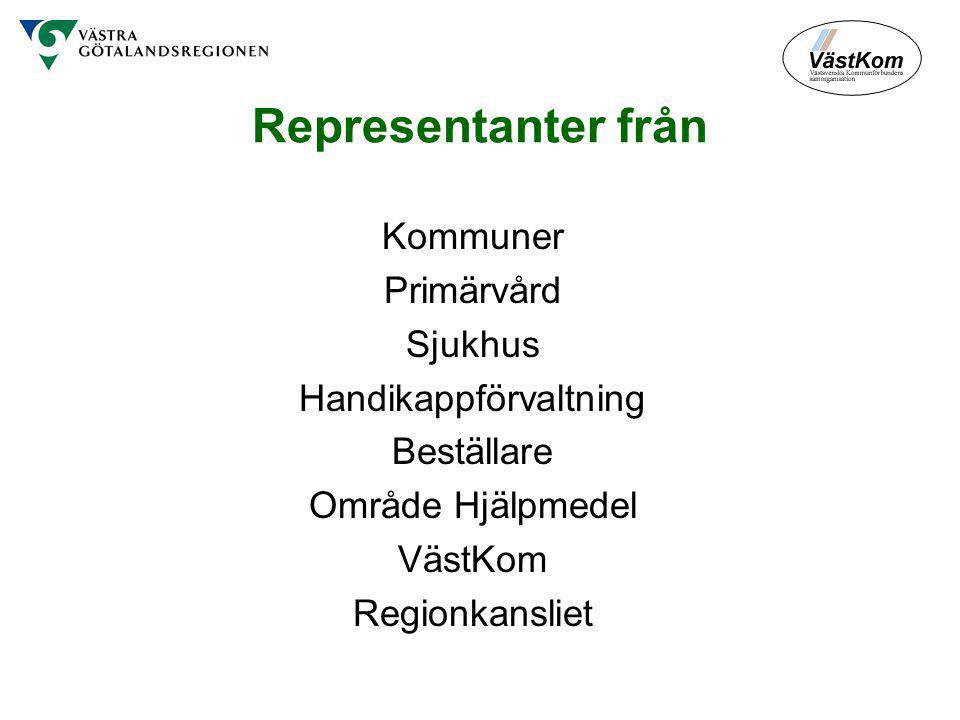 Representanter från Kommuner Primärvård Sjukhus Handikappförvaltning Beställare Område Hjälpmedel VästKom Regionkansliet