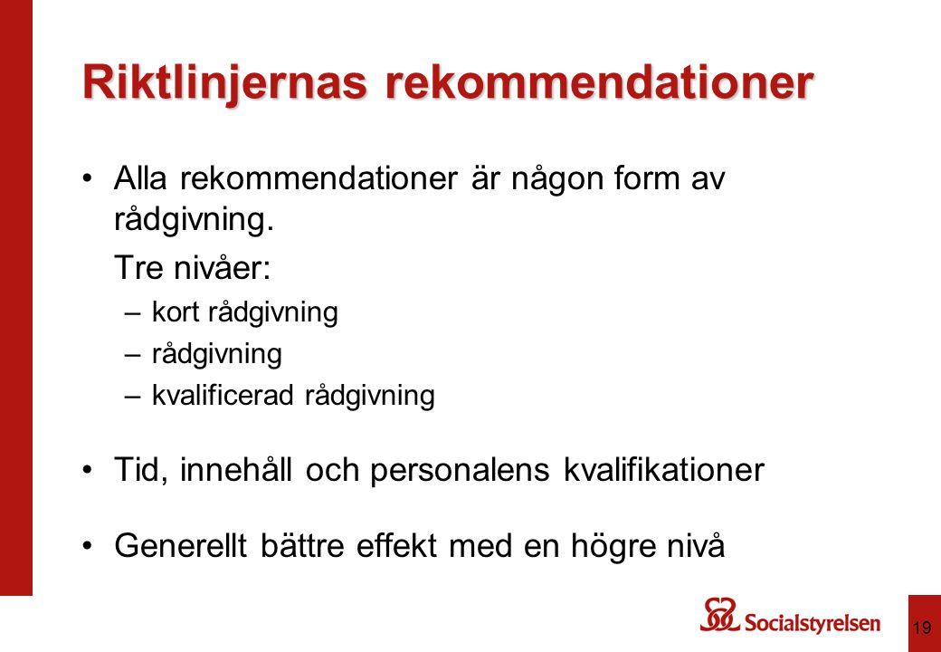 Riktlinjernas rekommendationer Alla rekommendationer är någon form av rådgivning. Tre nivåer: –kort rådgivning –rådgivning –kvalificerad rådgivning Ti