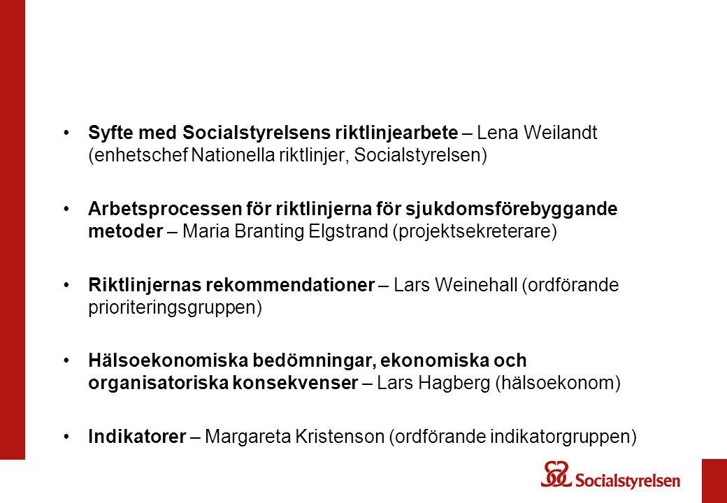 Syfte med Socialstyrelsens riktlinjearbete – Lena Weilandt (enhetschef Nationella riktlinjer, Socialstyrelsen) Arbetsprocessen för riktlinjerna för sj