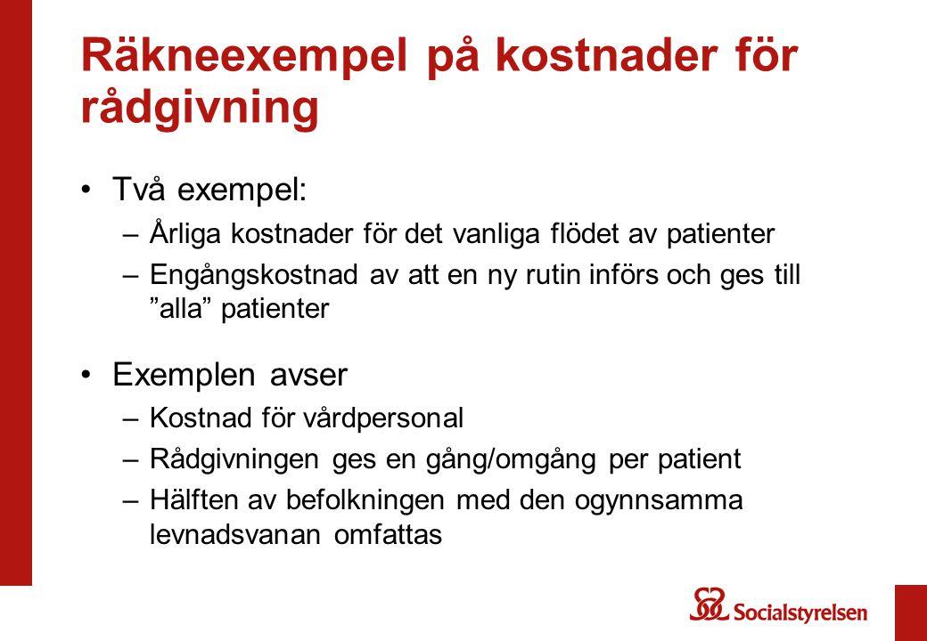 Räkneexempel på kostnader för rådgivning Två exempel: –Årliga kostnader för det vanliga flödet av patienter –Engångskostnad av att en ny rutin införs