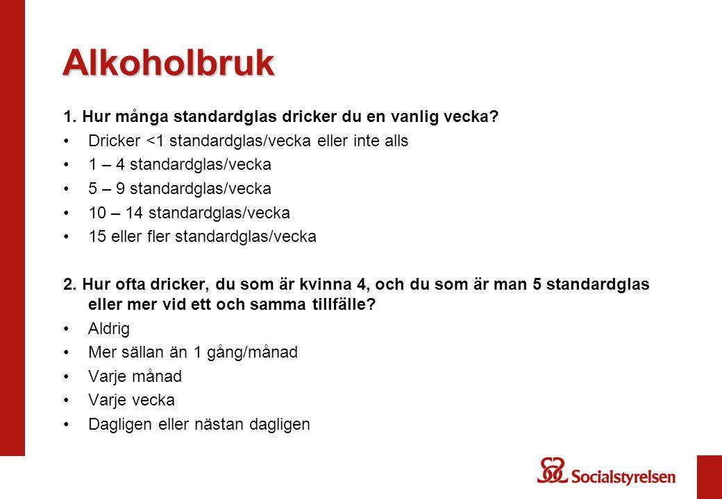 Alkoholbruk 1. Hur många standardglas dricker du en vanlig vecka? Dricker <1 standardglas/vecka eller inte alls 1 – 4 standardglas/vecka 5 – 9 standar