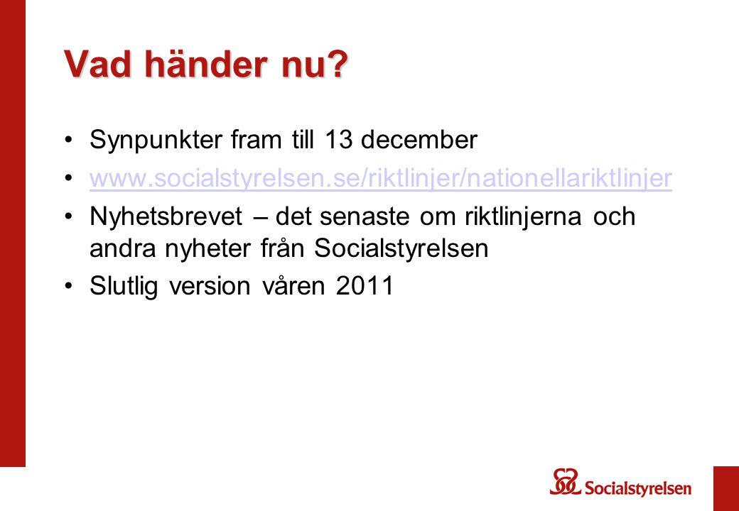 Vad händer nu? Synpunkter fram till 13 december www.socialstyrelsen.se/riktlinjer/nationellariktlinjer Nyhetsbrevet – det senaste om riktlinjerna och