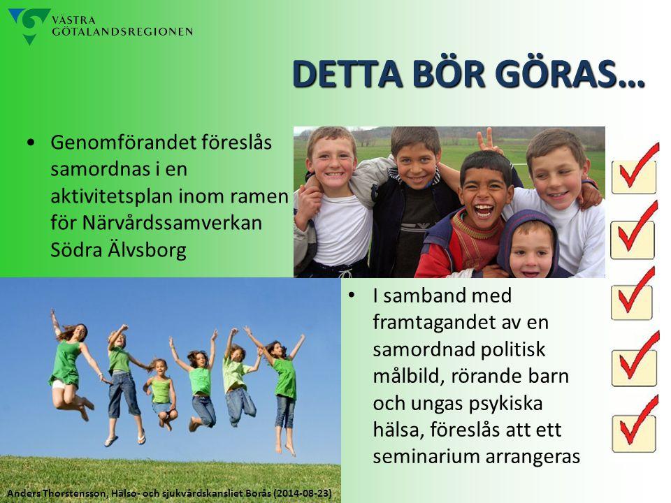 Genomförandet föreslås samordnas i en aktivitetsplan inom ramen för Närvårdssamverkan Södra Älvsborg DETTA BÖR GÖRAS… I samband med framtagandet av en samordnad politisk målbild, rörande barn och ungas psykiska hälsa, föreslås att ett seminarium arrangeras Anders Thorstensson, Hälso- och sjukvårdskansliet Borås (2014-08-23)