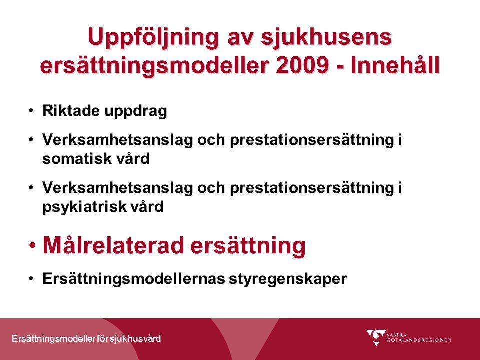 Ersättningsmodeller för sjukhusvård Målrelaterad ersättning För att stödja arbetet med att uppnå utvalda mål, till exempel tillgänglighet och kvalitet Beslut att 3 % av den totala ersättningen för vuxenpsykiatrisk vård ska vara målrelaterad – för övrig vård senast 2010