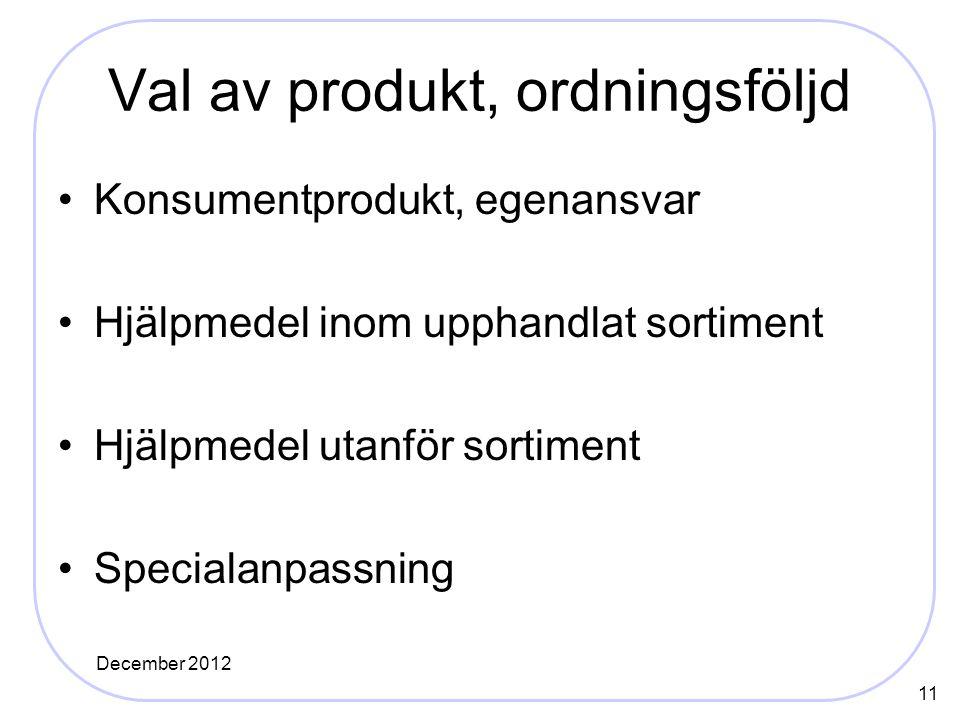 Val av produkt, ordningsföljd Konsumentprodukt, egenansvar Hjälpmedel inom upphandlat sortiment Hjälpmedel utanför sortiment Specialanpassning 11 December 2012
