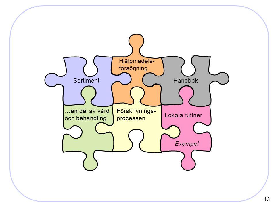 13 Förskrivnings- processen Handbok Hjälpmedels- försörjning …en del av vård och behandling Lokala rutiner Sortiment Exempel