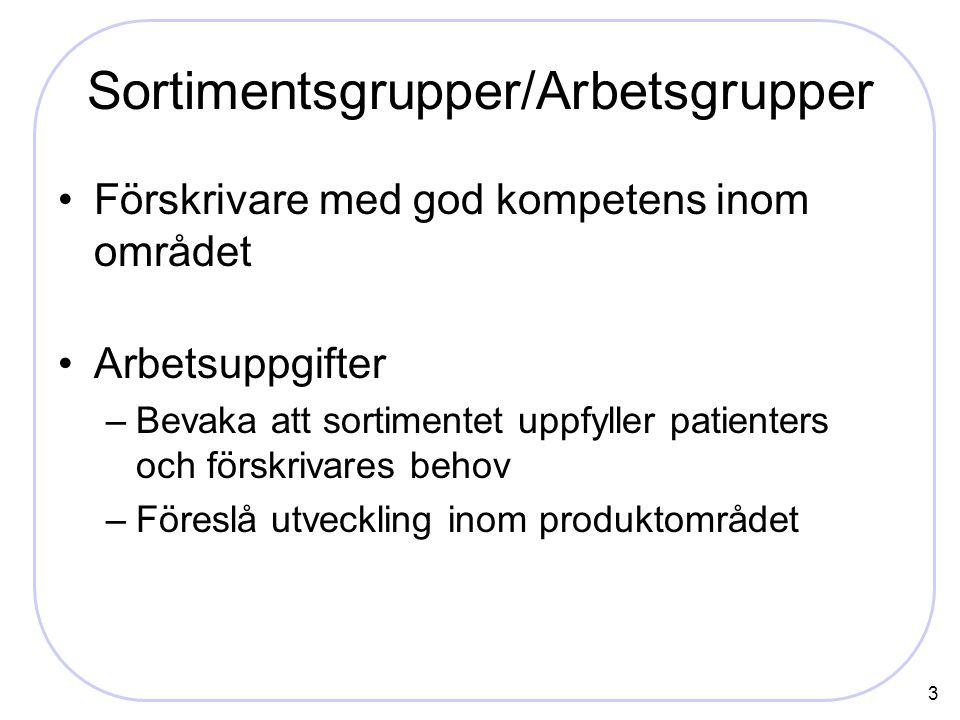 3 Sortimentsgrupper/Arbetsgrupper Förskrivare med god kompetens inom området Arbetsuppgifter –Bevaka att sortimentet uppfyller patienters och förskrivares behov –Föreslå utveckling inom produktområdet