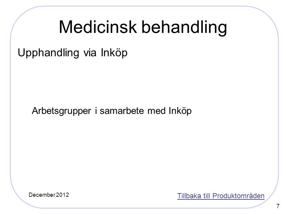7 Medicinsk behandling Upphandling via Inköp Arbetsgrupper i samarbete med Inköp Tillbaka till Produktområden December 2012