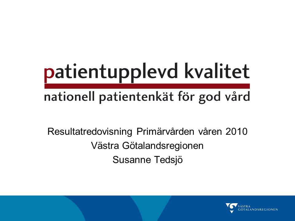 Resultatredovisning Primärvården våren 2010 Västra Götalandsregionen Susanne Tedsjö