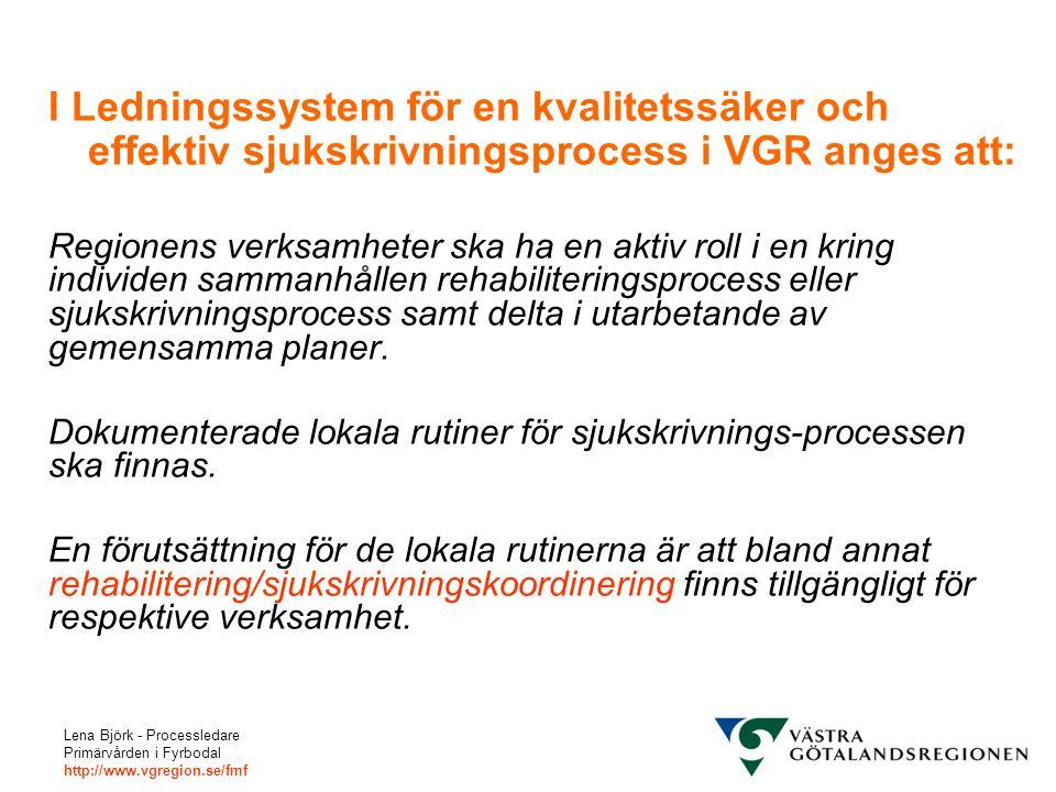 Lena Björk - Processledare Primärvården i Fyrbodal http://www.vgregion.se/fmf I Ledningssystem för en kvalitetssäker och effektiv sjukskrivningsproces