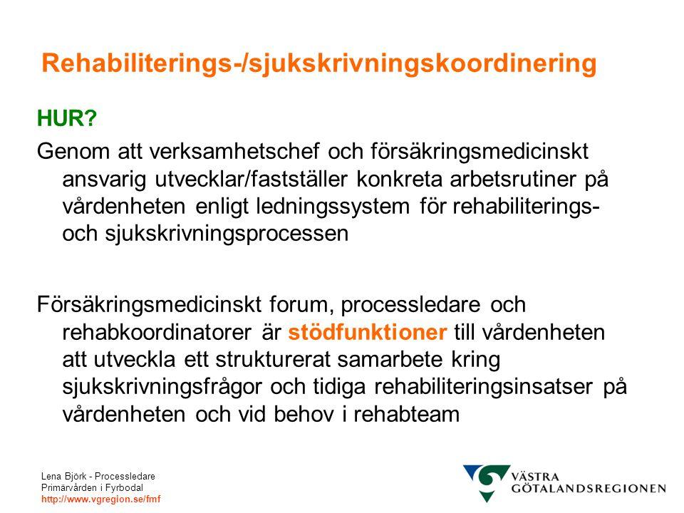 Lena Björk - Processledare Primärvården i Fyrbodal http://www.vgregion.se/fmf Rehabiliterings-/sjukskrivningskoordinering HUR? Genom att verksamhetsch