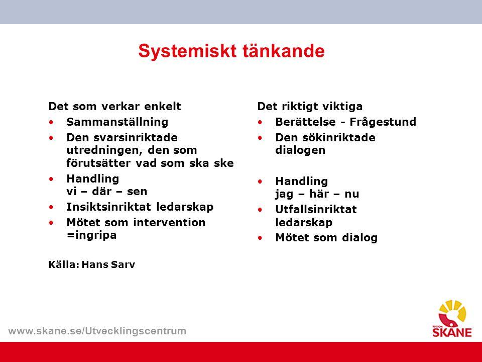 www.skane.se/Utvecklingscentrum Systemiskt tänkande Det som verkar enkelt Sammanställning Den svarsinriktade utredningen, den som förutsätter vad som