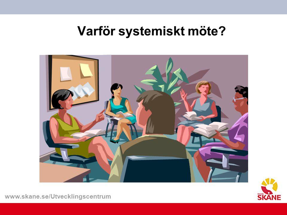 www.skane.se/Utvecklingscentrum Varför systemiskt möte?
