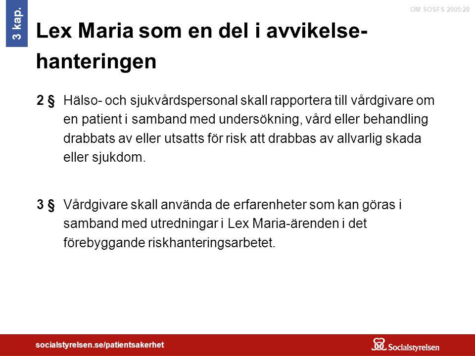 OM SOSFS 2005:28 socialstyrelsen.se/patientsakerhet Lex Maria som en del i avvikelse- hanteringen Hälso- och sjukvårdspersonal skall rapportera till v