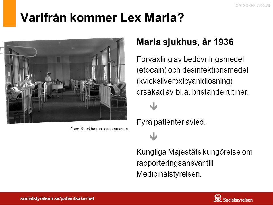 OM SOSFS 2005:28 socialstyrelsen.se/patientsakerhet Varifrån kommer Lex Maria? Maria sjukhus, år 1936 Förväxling av bedövningsmedel (etocain) och desi