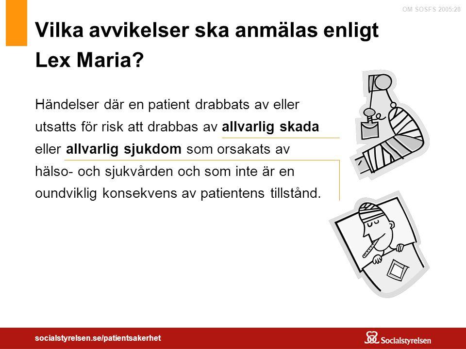 OM SOSFS 2005:28 socialstyrelsen.se/patientsakerhet Vilka avvikelser ska anmälas enligt Lex Maria? Händelser där en patient drabbats av eller utsatts