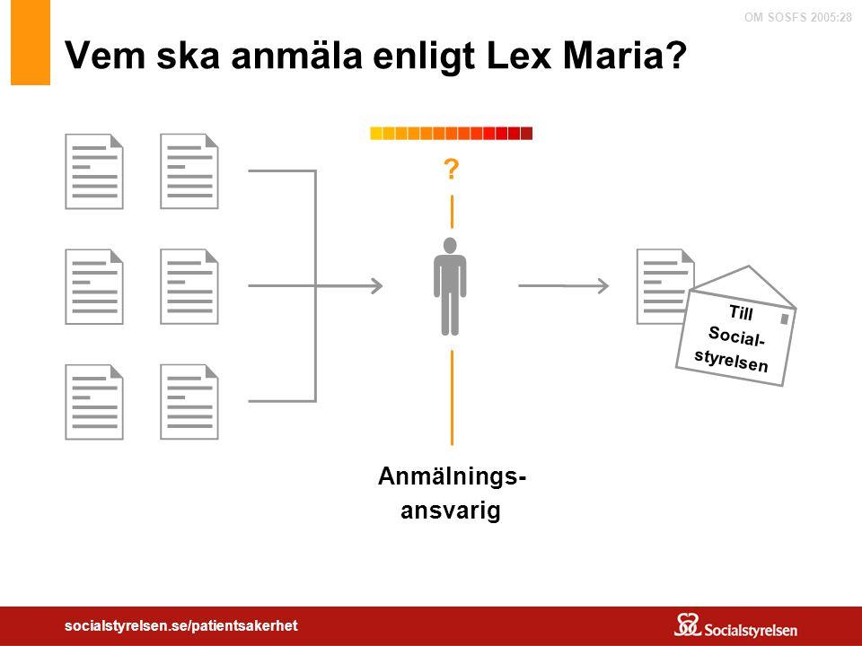 OM SOSFS 2005:28 socialstyrelsen.se/patientsakerhet Vem ska anmäla enligt Lex Maria?  Anmälnings- ansvarig        ? Till Social- styrelsen