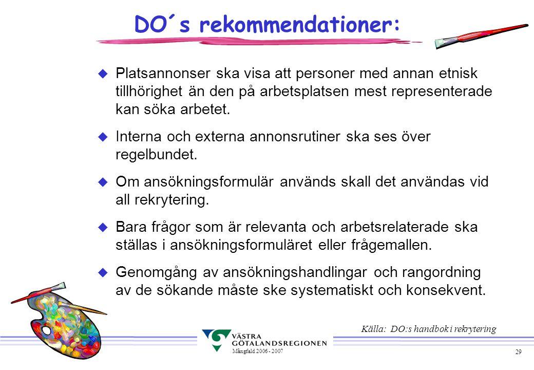 29 Mångfald 2006 - 2007 DO´s rekommendationer: u Platsannonser ska visa att personer med annan etnisk tillhörighet än den på arbetsplatsen mest repres