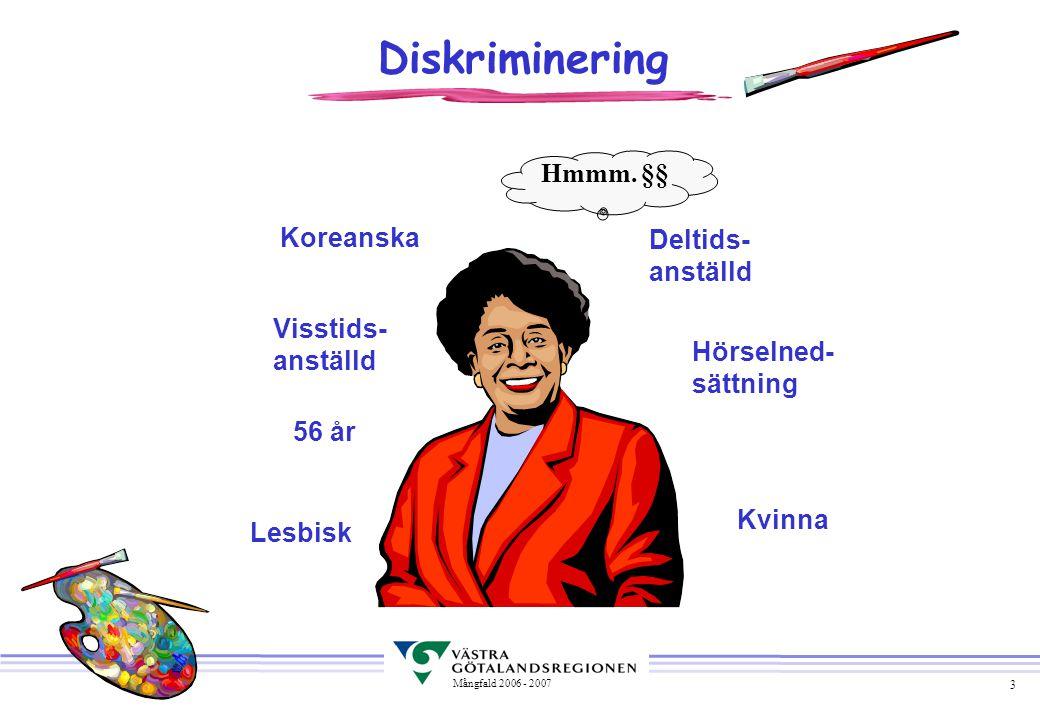 4 Mångfald 2006 - 2007 Lagstiftning om diskriminering u Lag om åtgärder mot etnisk diskriminering i arbetslivet (1999:130) u Lag (1999:132) om förbud mot diskriminering i arbetslivet av personer med funktionshinder u Lag (1999:133) om förbud mot diskriminering i arbetslivet på grund av sexuell läggning u Lag (2002: 293) om förbud mot diskriminering av deltidsarbetande arbetstagare och arbetstagare med tidsbegränsad anställning u Lag (1979:1118) om jämställdhet mellan kvinnor och män i arbetslivet Källa: Roth, A-K Mångfaldsboken 2004