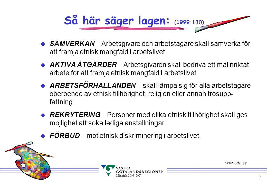5 Mångfald 2006 - 2007 Så här säger lagen: (1999:130) u SAMVERKAN Arbetsgivare och arbetstagare skall samverka för att främja etnisk mångfald i arbets