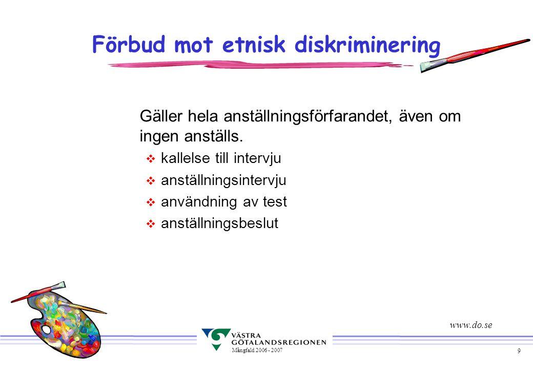 9 Mångfald 2006 - 2007 Förbud mot etnisk diskriminering Gäller hela anställningsförfarandet, även om ingen anställs. v kallelse till intervju v anstäl