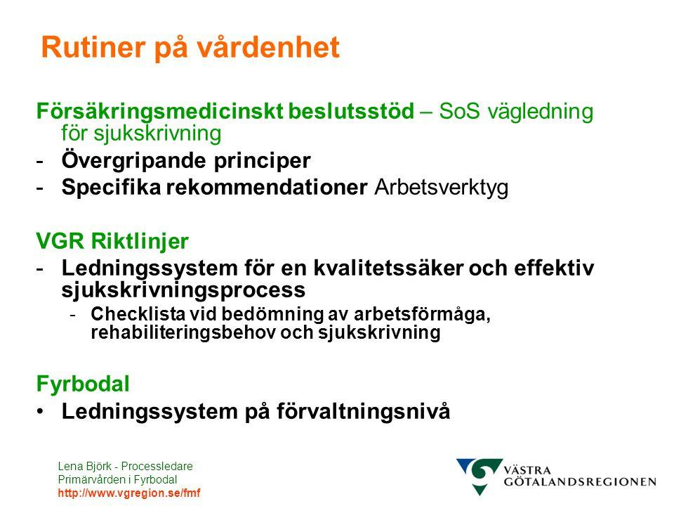 Lena Björk - Processledare Primärvården i Fyrbodal http://www.vgregion.se/fmf Rutiner på vårdenhet Försäkringsmedicinskt beslutsstöd – SoS vägledning