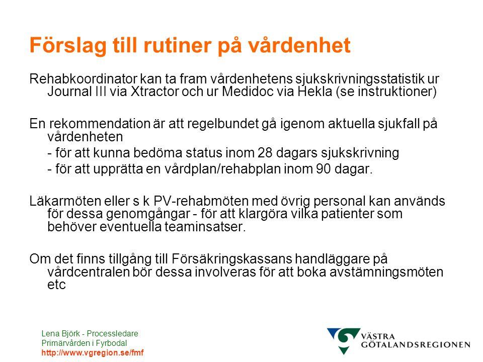 Lena Björk - Processledare Primärvården i Fyrbodal http://www.vgregion.se/fmf Förslag till rutiner på vårdenhet Rehabkoordinator kan ta fram vårdenhet