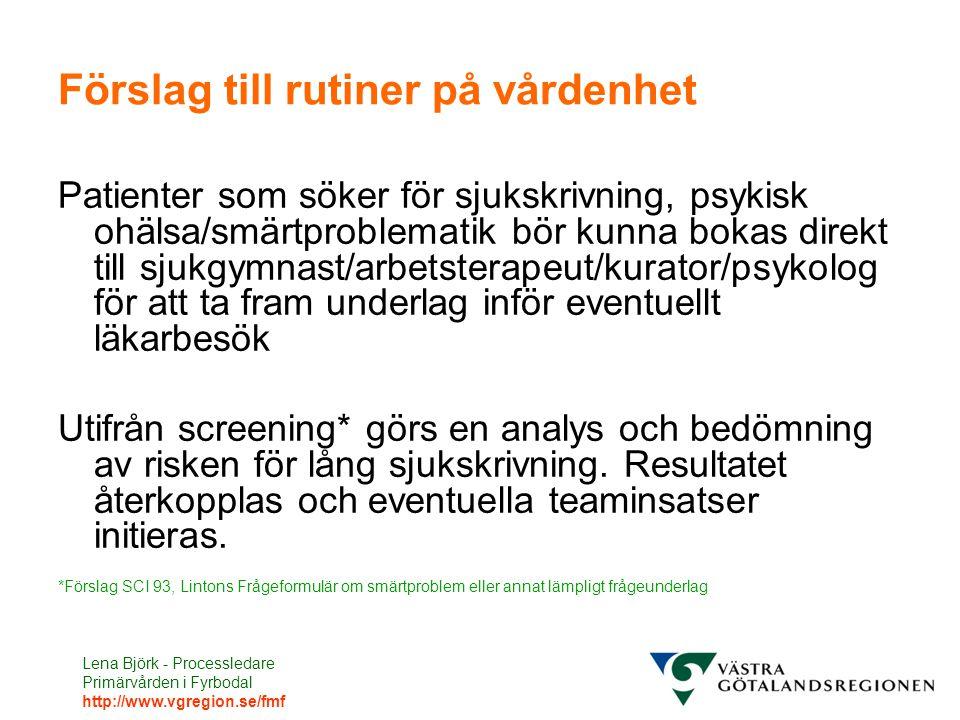 Lena Björk - Processledare Primärvården i Fyrbodal http://www.vgregion.se/fmf Förslag till rutiner på vårdenhet Patienter som söker för sjukskrivning,