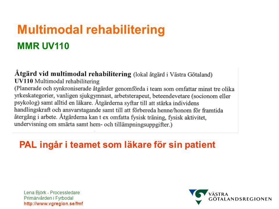 Lena Björk - Processledare Primärvården i Fyrbodal http://www.vgregion.se/fmf Multimodal rehabilitering MMR UV110 PAL ingår i teamet som läkare för si