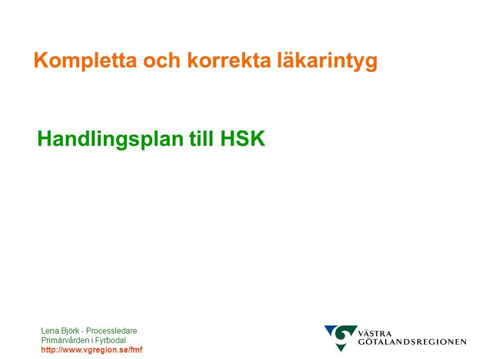 Lena Björk - Processledare Primärvården i Fyrbodal http://www.vgregion.se/fmf Kompletta och korrekta läkarintyg Handlingsplan till HSK