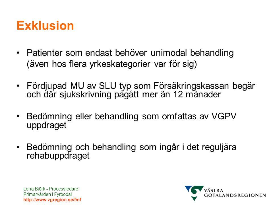 Lena Björk - Processledare Primärvården i Fyrbodal http://www.vgregion.se/fmf Exklusion Patienter som endast behöver unimodal behandling (även hos fle