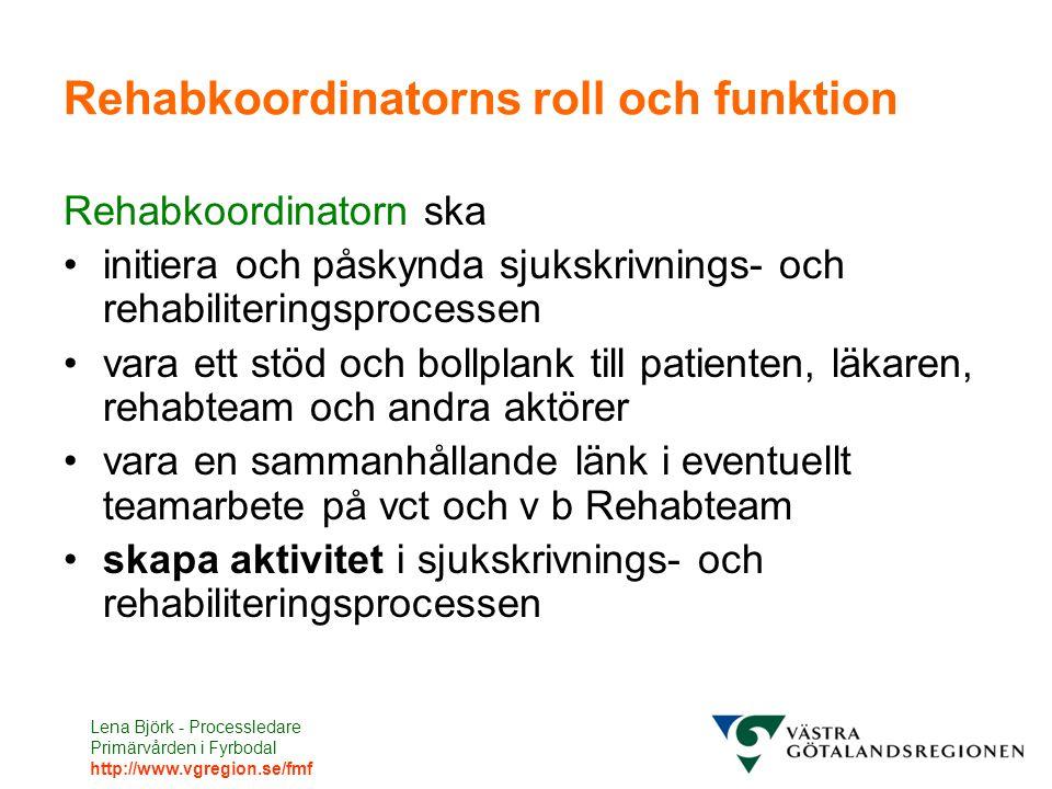 Lena Björk - Processledare Primärvården i Fyrbodal http://www.vgregion.se/fmf Rehabkoordinatorns roll och funktion Rehabkoordinatorn ska initiera och