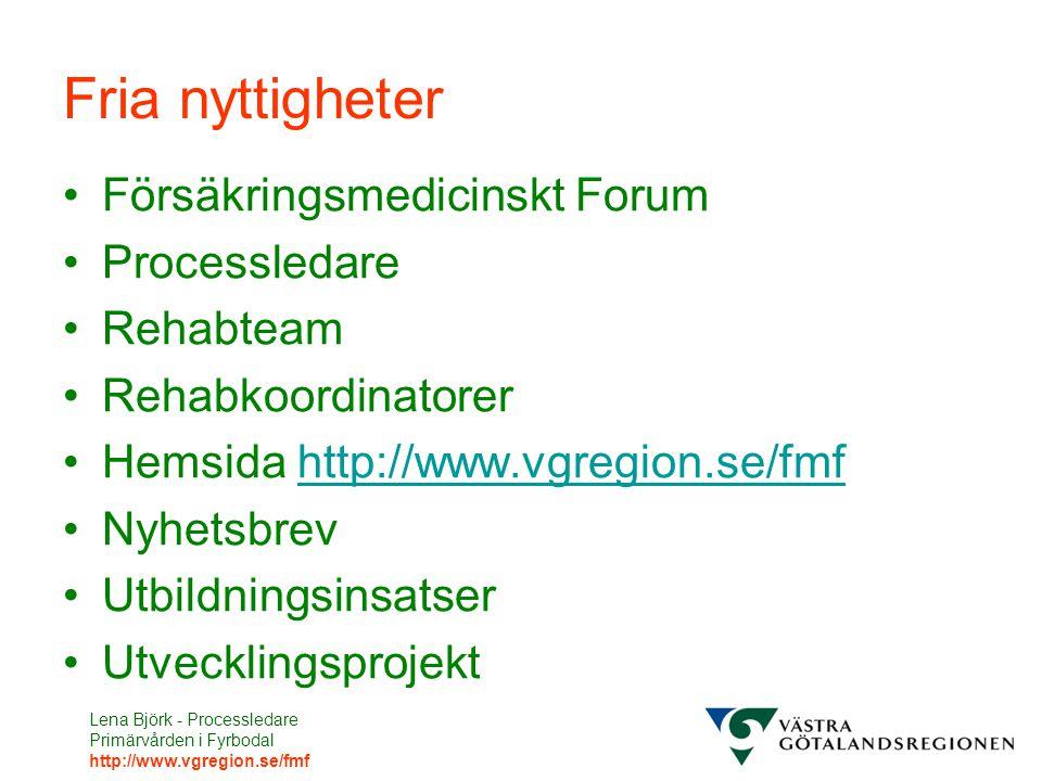 Lena Björk - Processledare Primärvården i Fyrbodal http://www.vgregion.se/fmf Fria nyttigheter Försäkringsmedicinskt Forum Processledare Rehabteam Reh