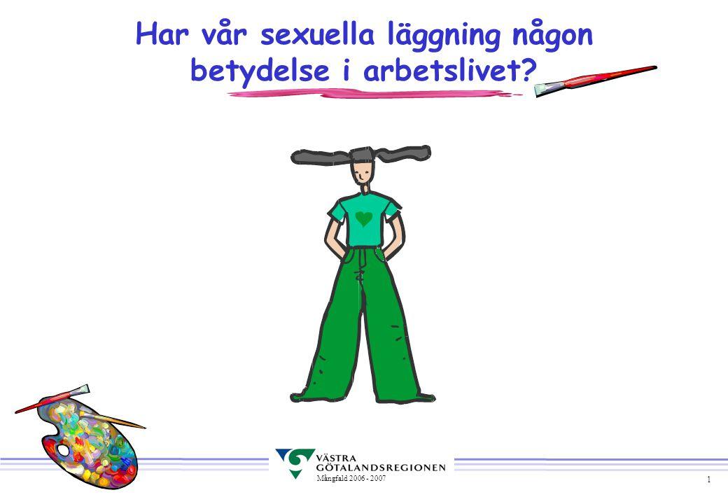 1 Mångfald 2006 - 2007 Har vår sexuella läggning någon betydelse i arbetslivet