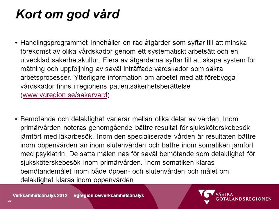 Verksamhetsanalys 2012 vgregion.se/verksamhetsanalys Kort om god vård Handlingsprogrammet innehåller en rad åtgärder som syftar till att minska förekomst av olika vårdskador genom ett systematiskt arbetsätt och en utvecklad säkerhetskultur.