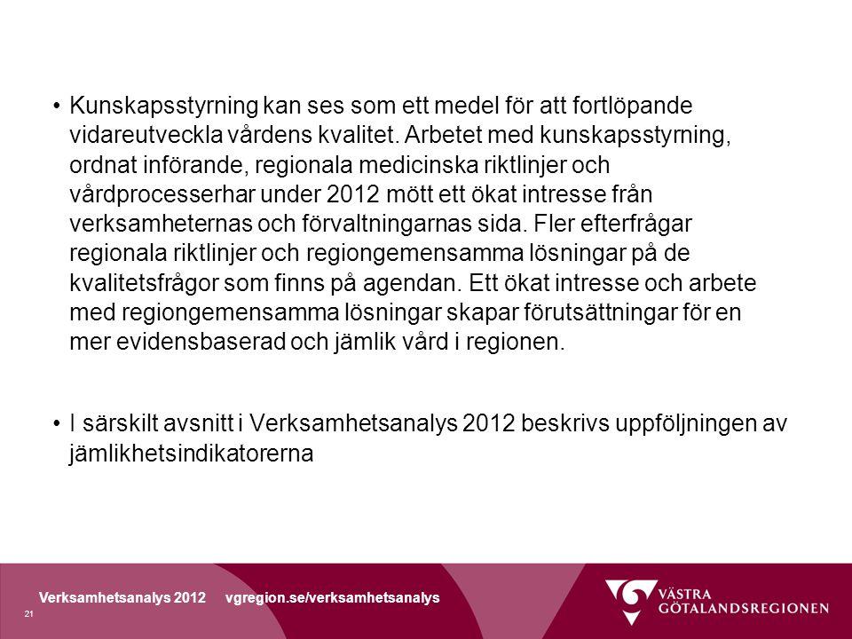 Verksamhetsanalys 2012 vgregion.se/verksamhetsanalys Kunskapsstyrning kan ses som ett medel för att fortlöpande vidareutveckla vårdens kvalitet.