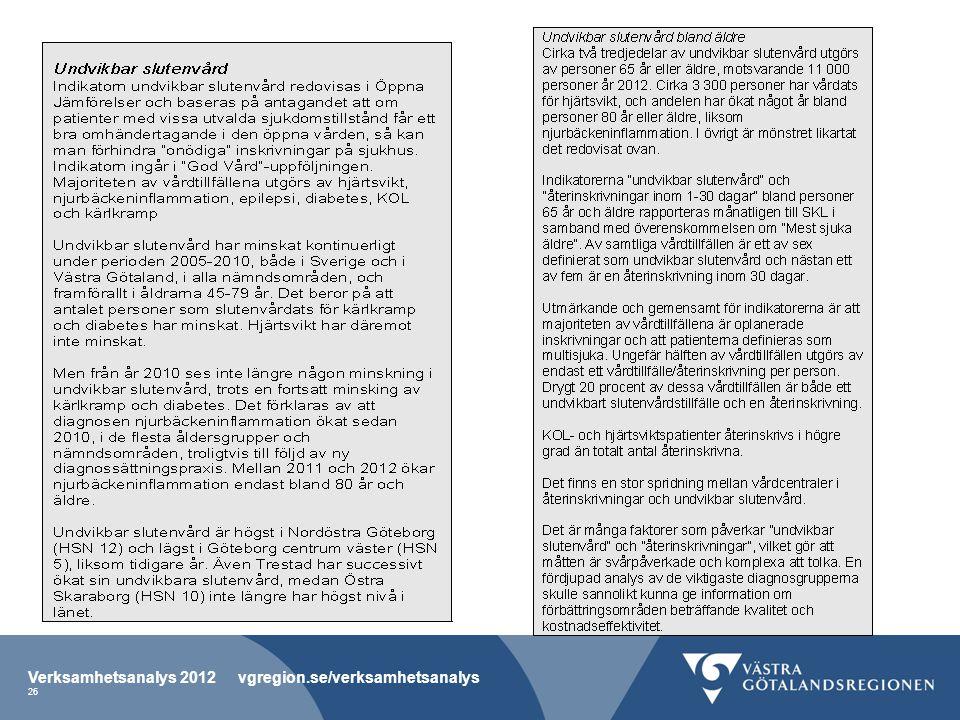 Verksamhetsanalys 2012 vgregion.se/verksamhetsanalys 26