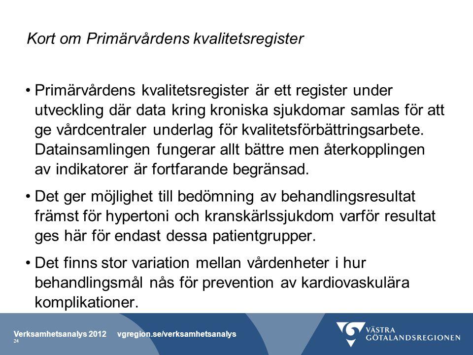 Kort om Primärvårdens kvalitetsregister Primärvårdens kvalitetsregister är ett register under utveckling där data kring kroniska sjukdomar samlas för att ge vårdcentraler underlag för kvalitetsförbättringsarbete.