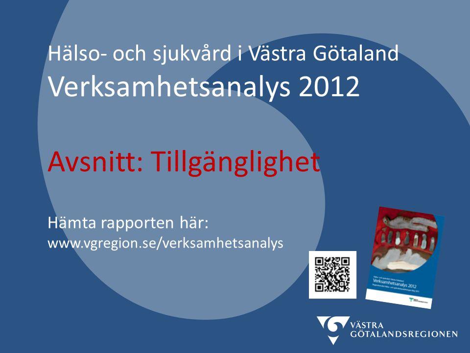 Hälso- och sjukvård i Västra Götaland Verksamhetsanalys 2012 Avsnitt: Tillgänglighet Hämta rapporten här: www.vgregion.se/verksamhetsanalys