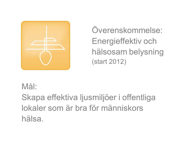Överenskommelse: Energieffektiv och hälsosam belysning (start 2012) Mål: Skapa effektiva ljusmiljöer i offentliga lokaler som är bra för människors hä