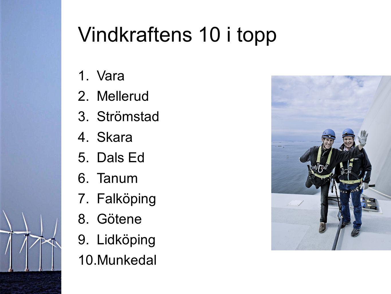 Vindkraftens 10 i topp 1.Vara 2.Mellerud 3.Strömstad 4.Skara 5.Dals Ed 6.Tanum 7.Falköping 8.Götene 9.Lidköping 10.Munkedal