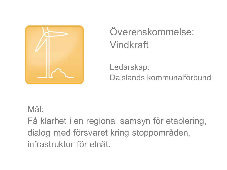 Överenskommelse: Vindkraft Ledarskap: Dalslands kommunalförbund Mål: Få klarhet i en regional samsyn för etablering, dialog med försvaret kring stoppområden, infrastruktur för elnät.