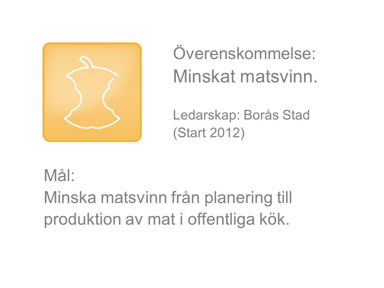 Överenskommelse: Minskat matsvinn. Ledarskap: Borås Stad (Start 2012) Mål: Minska matsvinn från planering till produktion av mat i offentliga kök.